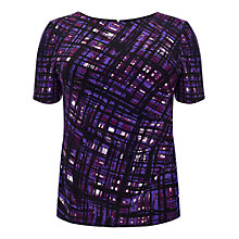 Buy Studio 8 Tamsin Painted Grid T-Shirt, Purple Online at johnlewis.com