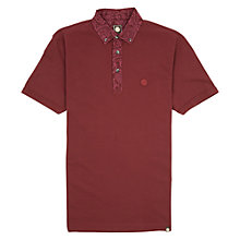 Buy Pretty Green Paisley Collar Polo Top, Dark Red Online at johnlewis.com