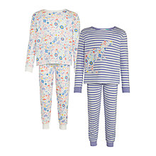 Buy John Lewis Girls' Floral Dinosaur Pyjamas, Pack of 2, Purple Online at johnlewis.com