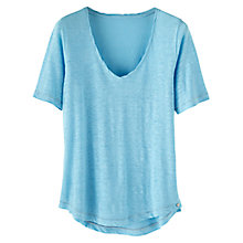 Buy Wrap London Iris Linen T-Shirt, Azure Skies Online at johnlewis.com