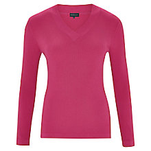 Buy Viyella V-Neck Ribbed Jumper, Bubblegum Online at johnlewis.com