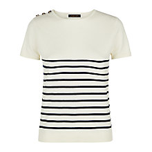 Buy Jaeger Wool Breton Stripe Knitted Top, Ivory / Navy Online at johnlewis.com