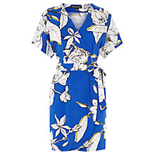 Buy Warehouse Impact Floral Dress,Bright Blue Online at johnlewis.com
