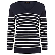Buy Jaeger Wool Breton Striped Jumper, Navy / Ivory Online at johnlewis.com