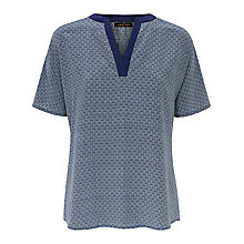 Buy Jaeger Silk Circular Print Top, Multi Blue Online at johnlewis.com