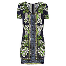 Buy Warehouse Border Floral T-Shirt Dress, Navy Online at johnlewis.com