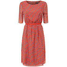 Buy Jaeger Silk Double Spot Print Dress, Multi Red Online at johnlewis.com