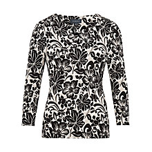 Buy Viyella Woodcut Floral Top, Natural/Black Online at johnlewis.com