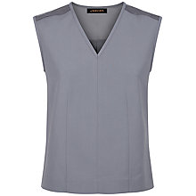 Buy Jaeger Contrast Fabric V-Neck Top, Storm Online at johnlewis.com