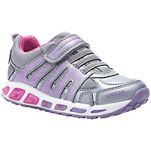 Buy Geox Shuttle Glitter Sports Shoes, Grey/Lilac Online at johnlewis.com