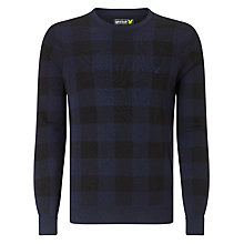 Buy Lyle & Scott Long Sleeve Crew Neck Block Jersey Top, Navy Online at johnlewis.com
