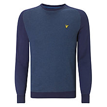Buy Lyle & Scott Saddle Sleeve Crew Neck Sweatshirt, Dark Navy Marl/Blue Online at johnlewis.com