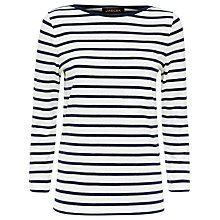Buy Jaeger Breton Striped Top, Ivory / Navy Online at johnlewis.com
