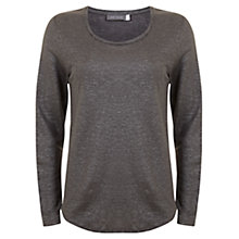 Buy Mint Velvet Linen Long Sleeve T-Shirt, Granite Online at johnlewis.com