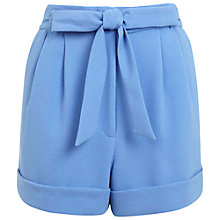 Buy Miss Selfridge Belted Turn Up Shorts, Pale Blue Online at johnlewis.com