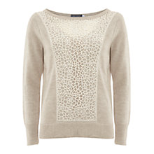 Buy Mint Velvet Pebble Lace Boxy Jumper, Taupe Online at johnlewis.com