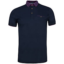 Buy Ted Baker Komma Check Print Collar Polo Shirt, Navy Online at johnlewis.com