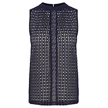 Buy Oasis Geo Lace Shell Top, Navy Online at johnlewis.com