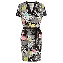 Buy Oasis Falling Leaf Print Dress, Black Online at johnlewis.com