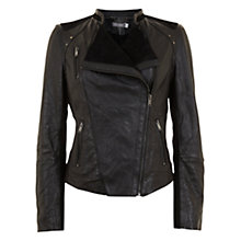 Buy Mint Velvet Leather & Suede Jacket, Black Online at johnlewis.com