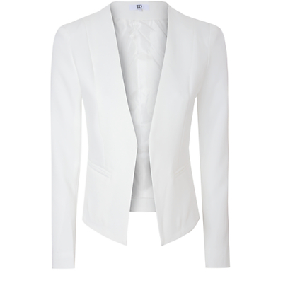 True Decadence Collarless Tailored Blazer, White