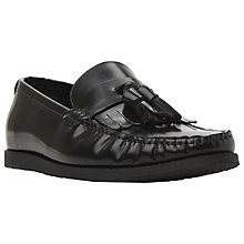 Buy Dune Bachelor Hi-Shine Leather Tassel Loafers, Black Online at johnlewis.com