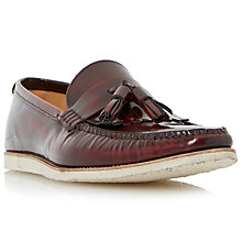 Buy Dune Bachelor Pad Hi Shine Leather Tassel Loafers, Bordo Online at johnlewis.com