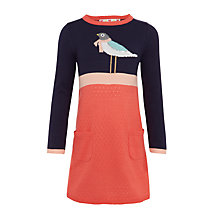 Buy John Lewis Girls' Pointelle Knit Bird Dress, Navy/Coral Online at johnlewis.com