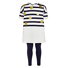 Buy John Lewis Girls' Nautical Print Dress Set, White/Navy Online at johnlewis.com