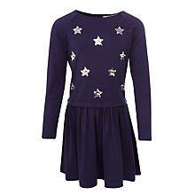 Buy John Lewis Girls' Sequin Star Jersey Dress, Navy Online at johnlewis.com