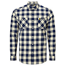 Buy Lyle & Scott Herringbone Flannel Block Check Shirt, Ivory/Blue Online at johnlewis.com