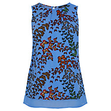 Buy Oasis Butterfly Contrast Trim Top, Mid Blue Online at johnlewis.com