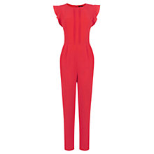 Buy Oasis Crepe Frill Jumpsuit, Rich Red Online at johnlewis.com