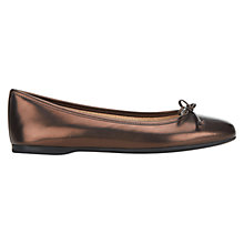 Buy Hobbs Prior Metallic Leather Square Toe Ballerina Pumps, Bronze Online at johnlewis.com