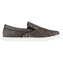 Buy Mint Velvet Alice Slip On Trainers, Charcoal Leather Online at johnlewis.com