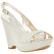 Buy Dune Marlborough Glitter Slingback Wedges, Champagne Online at johnlewis.com