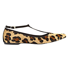 Buy Mint Velvet T Bar Ballerina Pumps, Leopard Pony Online at johnlewis.com