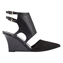 Buy Mint Velvet Sophie Pointed Toe Wedge Sandal, Black Leather Online at johnlewis.com