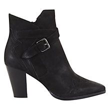 Buy Mint Velvet Rara Block Heel Western Style Ankle Boots, Black Leather Online at johnlewis.com