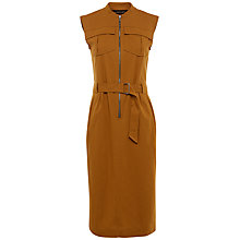 Buy Jaeger Casual Belted Cotton Dress, Bronze Online at johnlewis.com