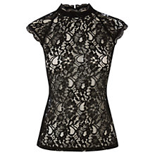 Buy Oasis High Neck Lace T-Shirt, Black Online at johnlewis.com
