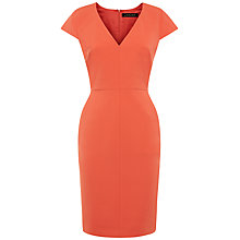 Buy Jaeger Compact Tailoring V-Neck Dress, Orange Online at johnlewis.com