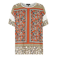 Buy Warehouse Paisley Chiffon Insert Top, Orange Online at johnlewis.com