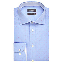 Buy John Lewis Luxury Gingham Dot Jacquard Shirt with Metal Collar Bones, Blue Online at johnlewis.com