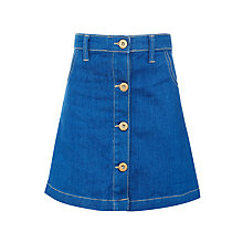 Buy John Lewis Girls' Denim Button Through Skirt, Blue Online at johnlewis.com