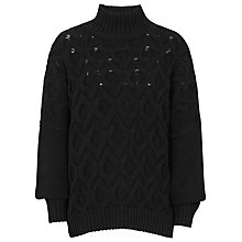 Buy Reiss Beatrix Cable Knit Jumper, Black Online at johnlewis.com