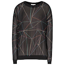 Buy Reiss Luxe Rib Printed Top, Black Online at johnlewis.com