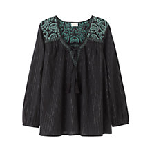 Buy East Embroidered Lurex Blouse, Black Online at johnlewis.com