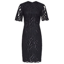 Buy Reiss Bellini Lace Contrast Dress, Night Navy Online at johnlewis.com