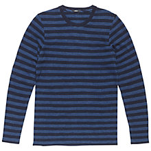 Buy Denham Signature Slub Stripe Long Sleeve T-Shirt, Indigo Online at johnlewis.com